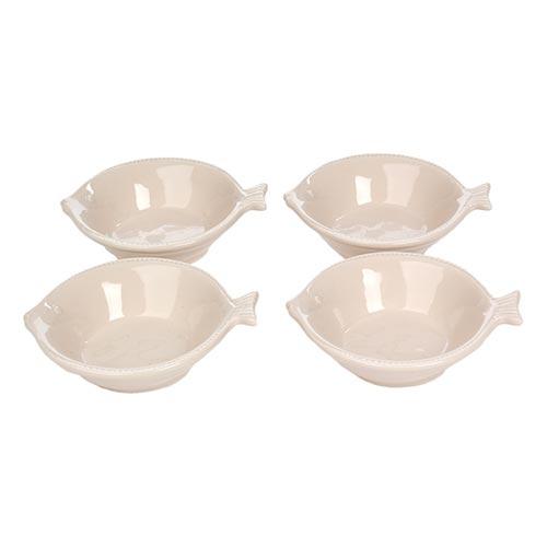 Conjunto de Saladeiras Peixe em Porcelana - 12x5 cm