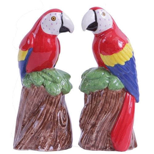 Conjunto Saleiro e Pimenteiro Araras em Cerâmica - 12x5 cm