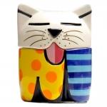 Conjunto Saleiro e Pimenteiro Cat em Cerâmica - 10x8 cm