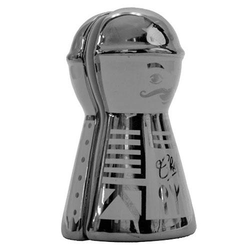 Conjunto Saleiro e Pimenteiro Gourmet Metalic em Cerâmica - 10x6 cm