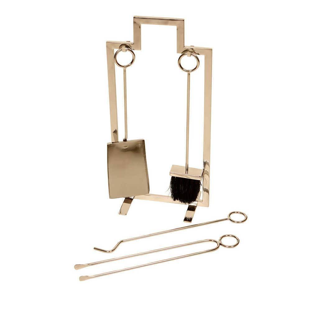 Conjunto Slim para Limpeza de Lareira - 5 Peças - em Aço Inox - 61x30 cm