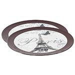 Conjunto Sousplat Borda Marrom Paris Eiffel Fullway
