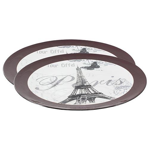 Conjunto de Sousplat Borda Marrom Paris Eiffel Fullway - 2 peças - 33cm