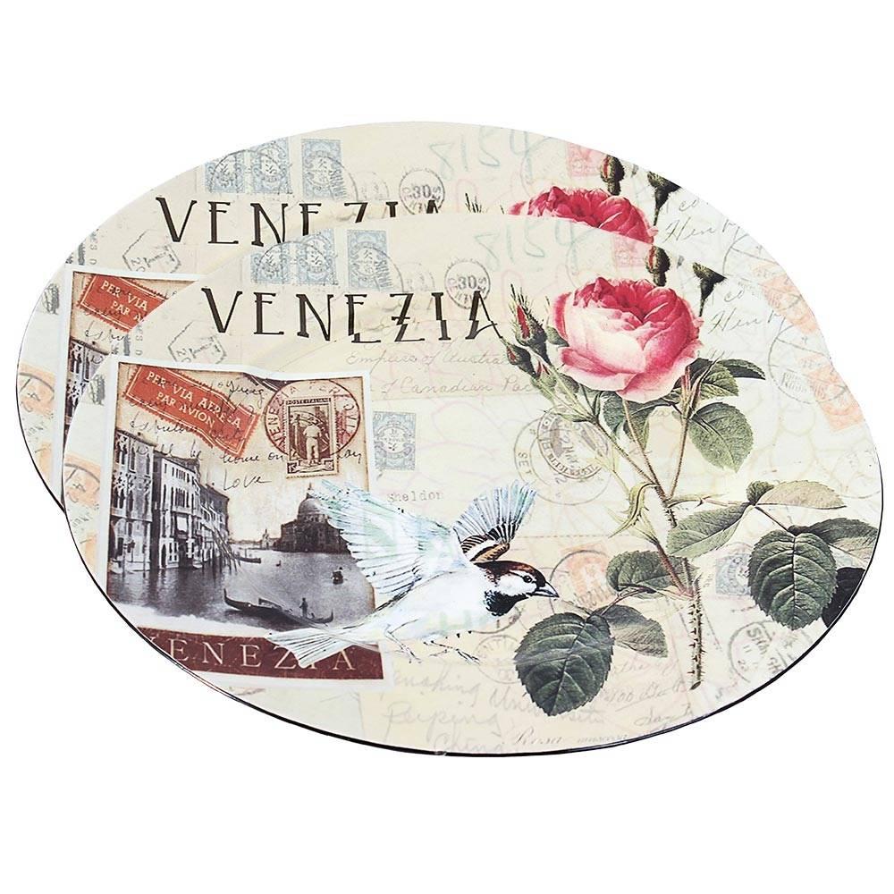 Conjunto de Sousplat Venezia Flores Fullway - 2 peças - 33cm