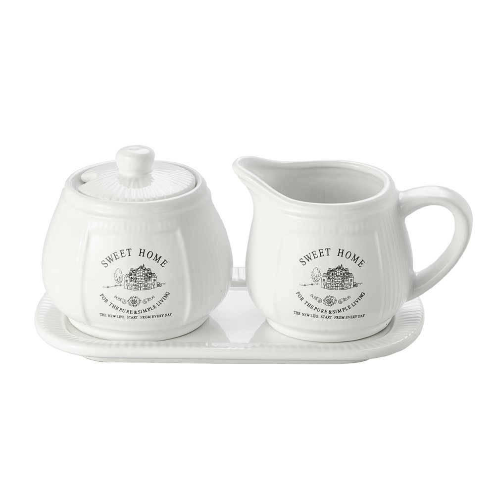 Conjunto Sweet Home Bule, Açucareiro e Bandeja em Porcelana - Lyor Design - 20x11 cm