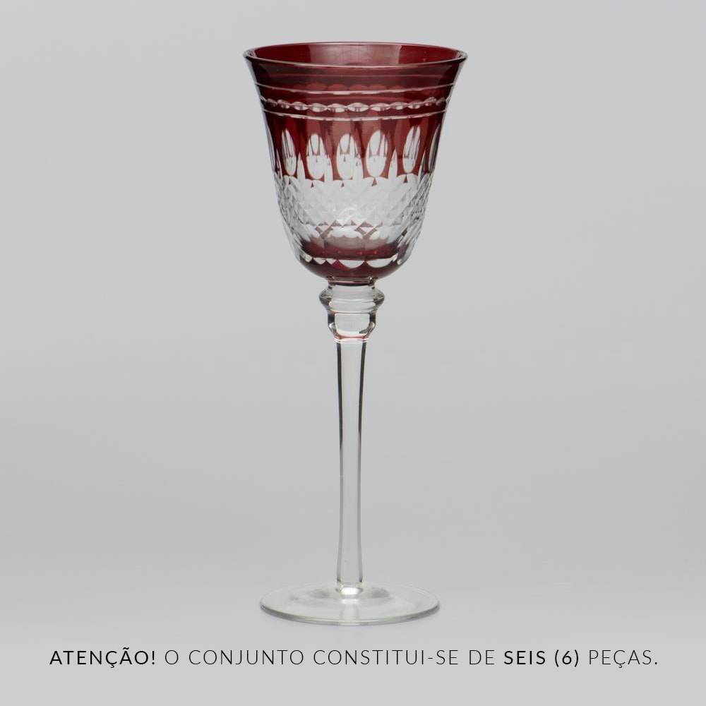 Conjunto de Taças para Água Vermelhas Lapidadas - 6 Peças - 220 ml - em Vidro