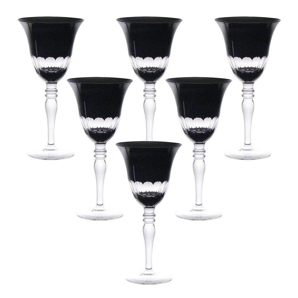 Conjunto de Taças para Água Finger Pretas - 6 Peças - 400 ml - em Vidro - Bon Gourmet
