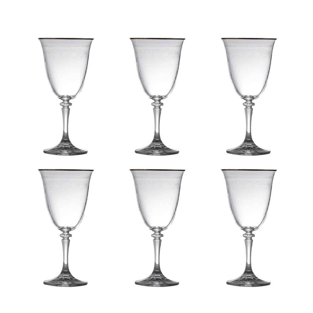 Conjunto de Taças para Água Kleopatra Pantografado Dourado - 6 Peças - 360 ml - em Cristal - Bohemia