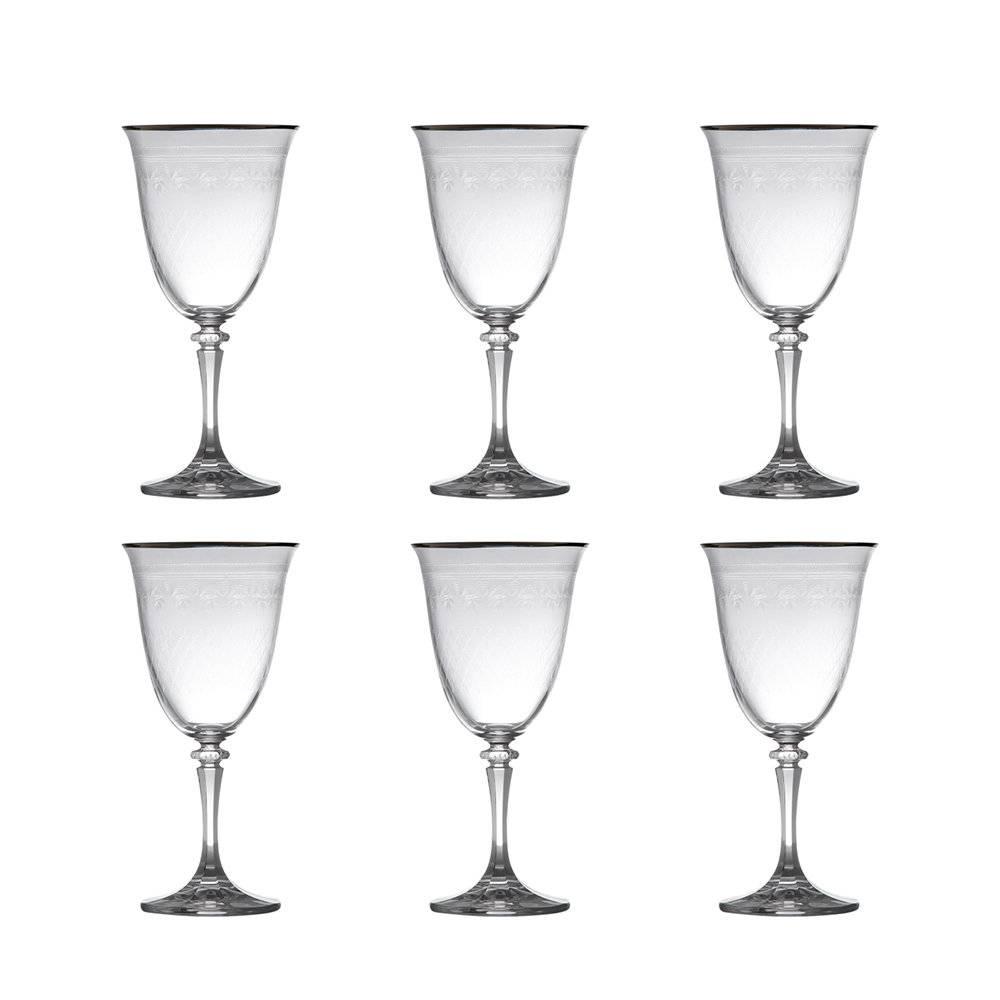 Conjunto de Taças para Água Kleopatra Pantografado Prateado - 6 Peças - 360 ml - em Cristal - Bohemia
