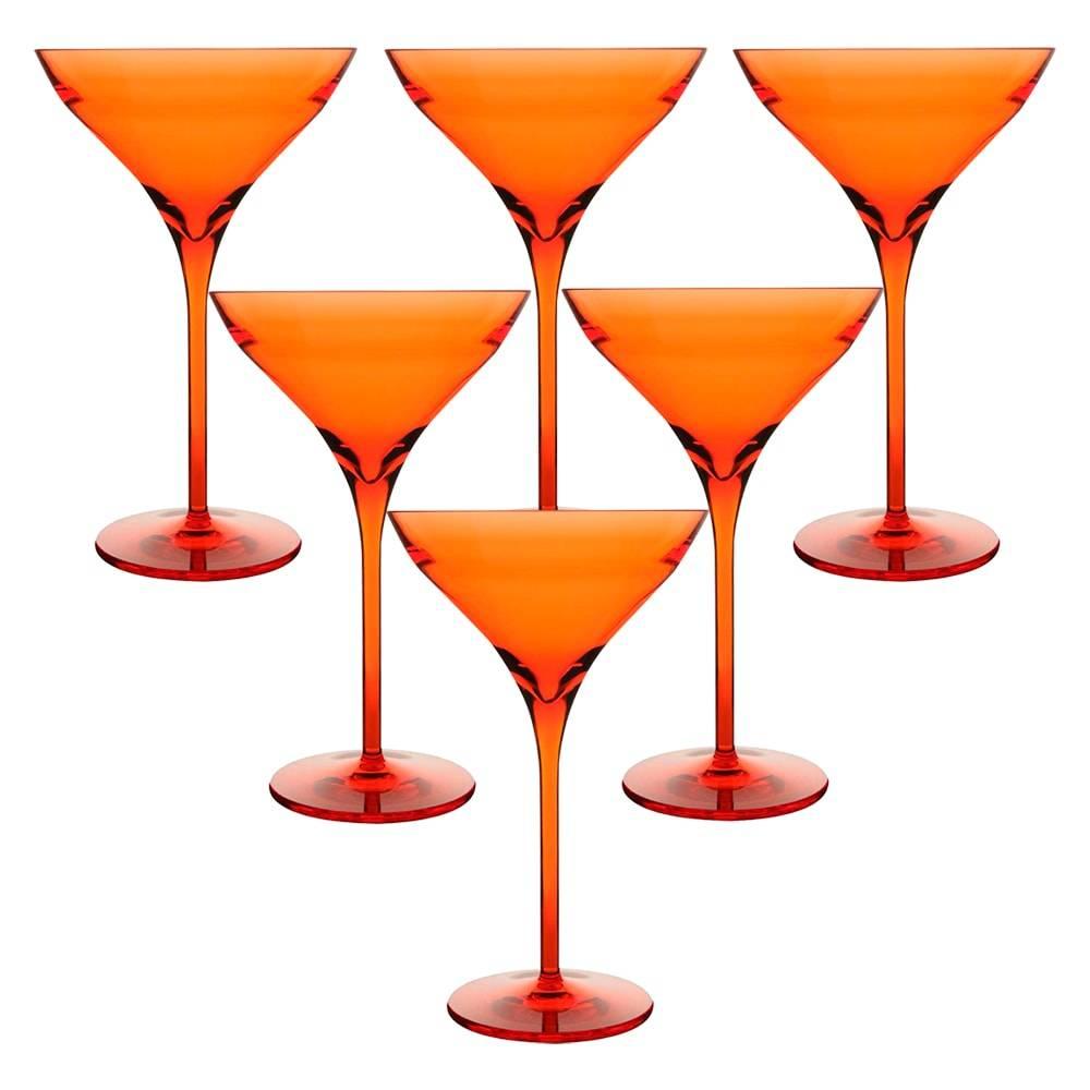Conjunto de Taças Beach para Martini - 6 Peças 270 ml - Vermelhas em Acrílico - 16x11,2 cm