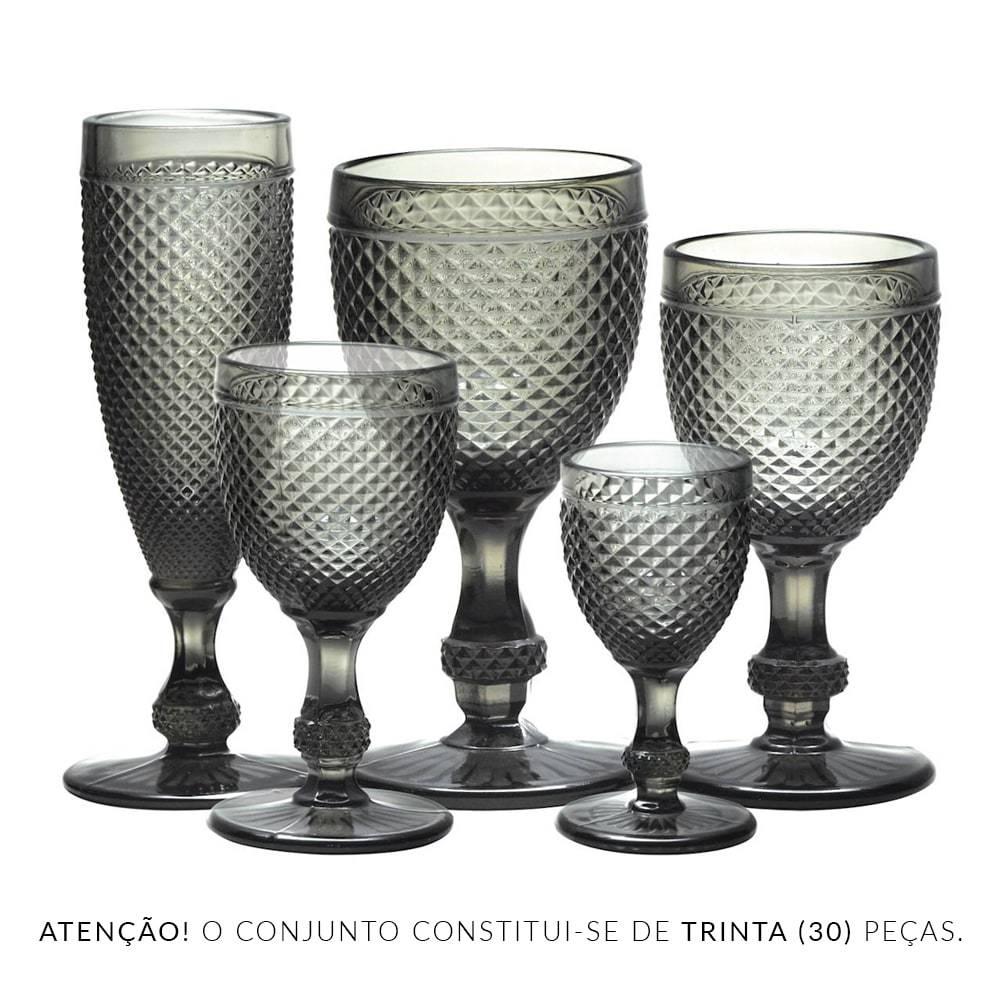Conjunto de Taças Bico de Jaca Cinza - 30 Peças - em Vidro - Bon Gourmet