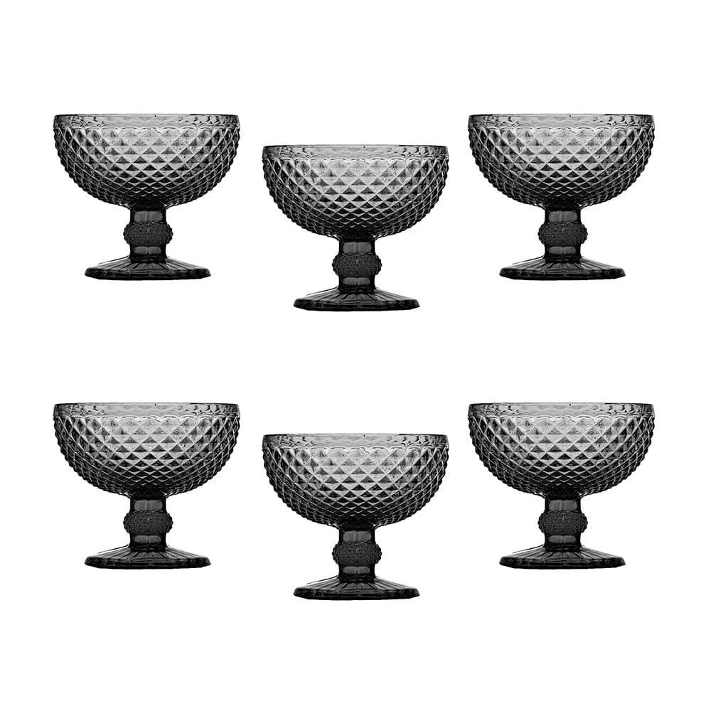 Conjunto de Taças para Sobremesa Bico de Jaca Cinza - 6 Peças - em Vidro - Bon Gourmet