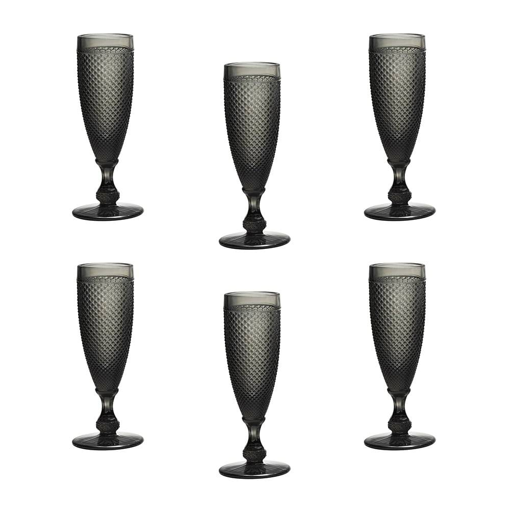 Conjunto de Taças para Champanhe Bico de Jaca Cinza - 6 Peças - 120 ml - em Vidro - Bon Gourmet