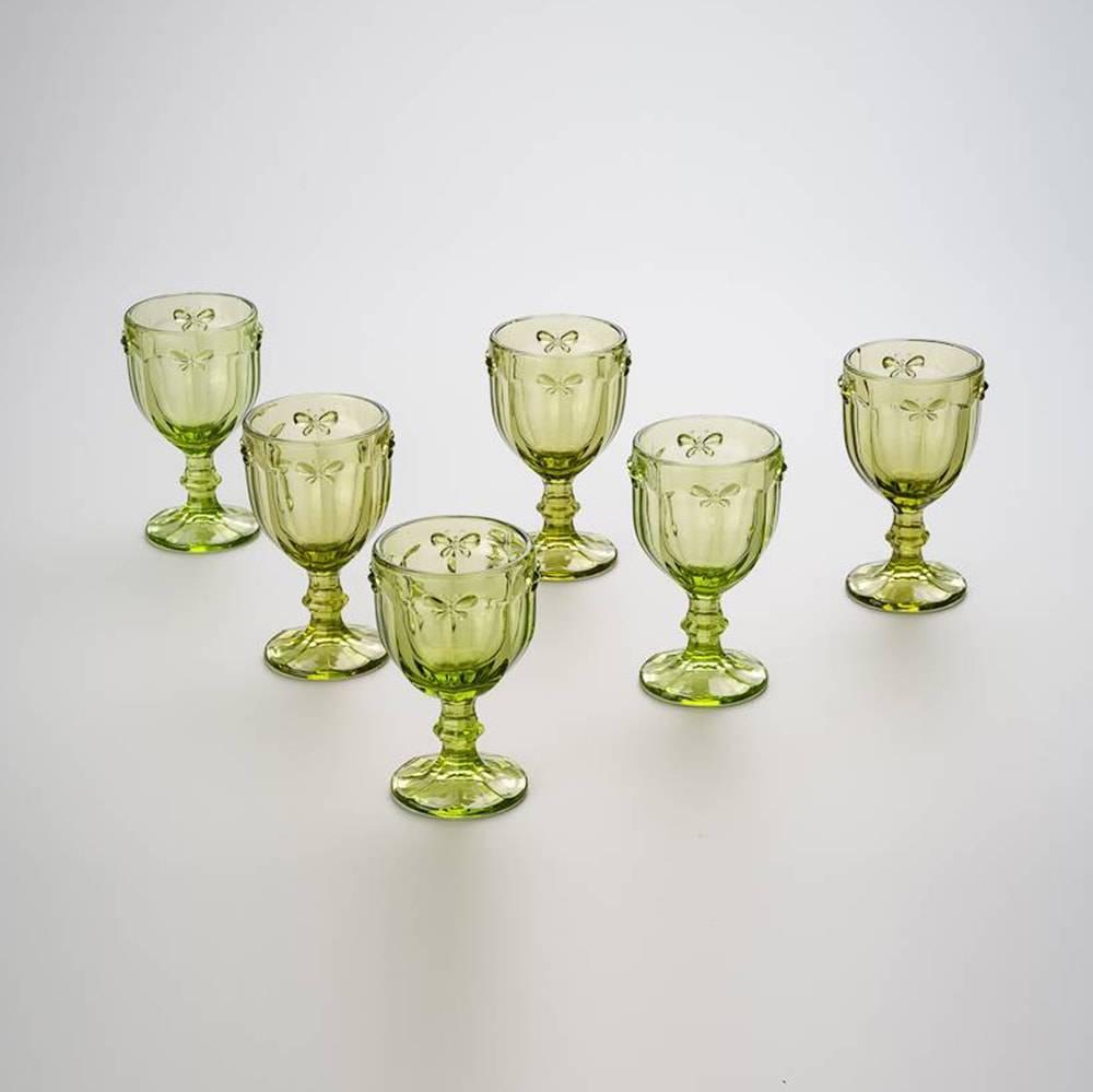Conjunto de Taças para Água Borboletas Verde - 6 Peças - 300 ml - em Vidro - Bon Gourmet