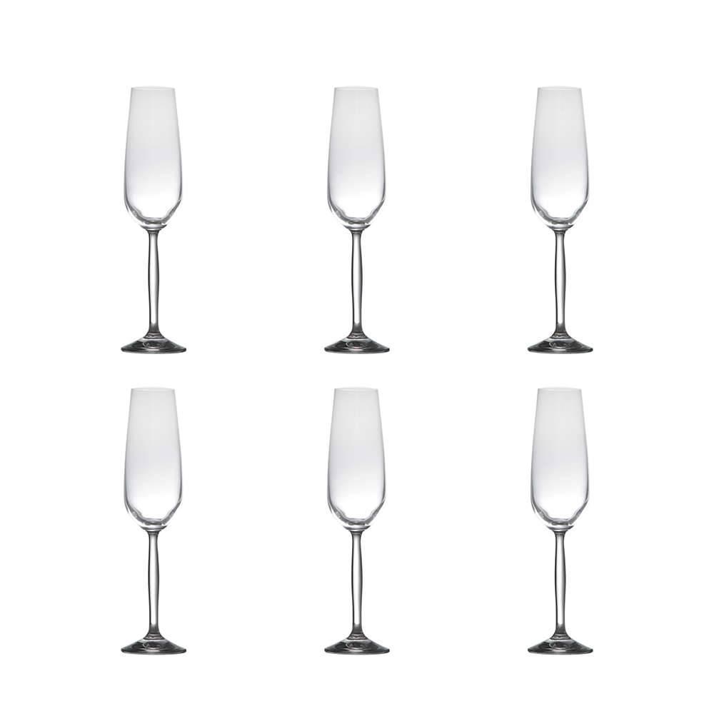 Conjunto de Taças para Champagne Enjoy - 6 Peças - 190 ml - em Cristal - Rona