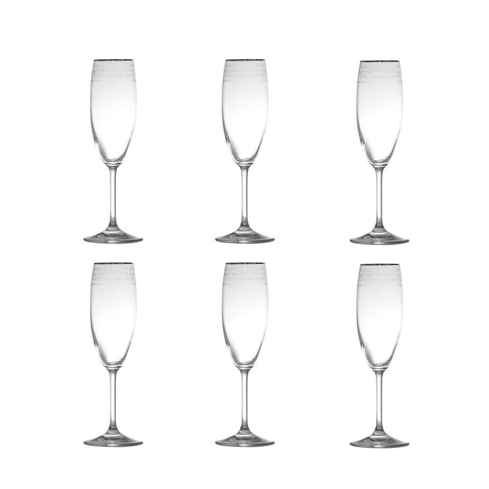 Conjunto de Taças para Champagne Ingrid Pantografado Prateadas - 6 Peças - 175 ml - em Cristal - Rona