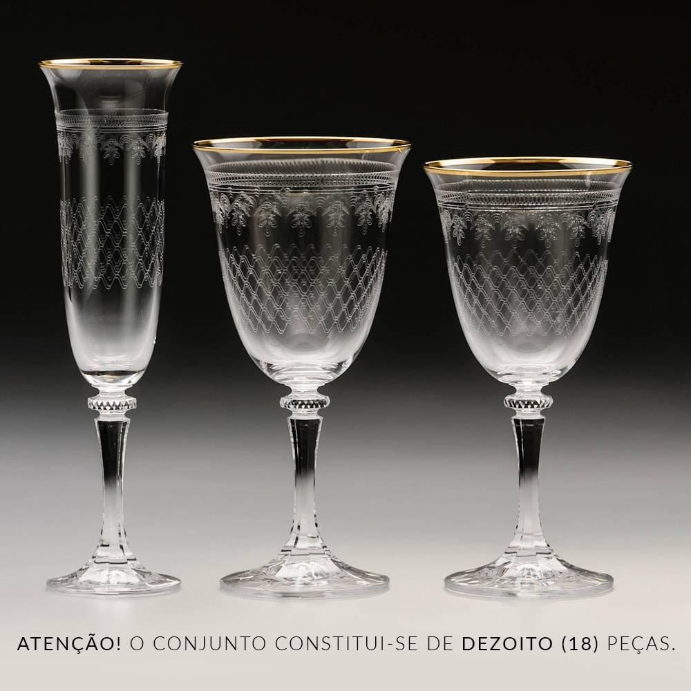 Conjunto de Taças Kleopatra Gold Pantografadas - 18 Peças - em Cristal - Bohemia