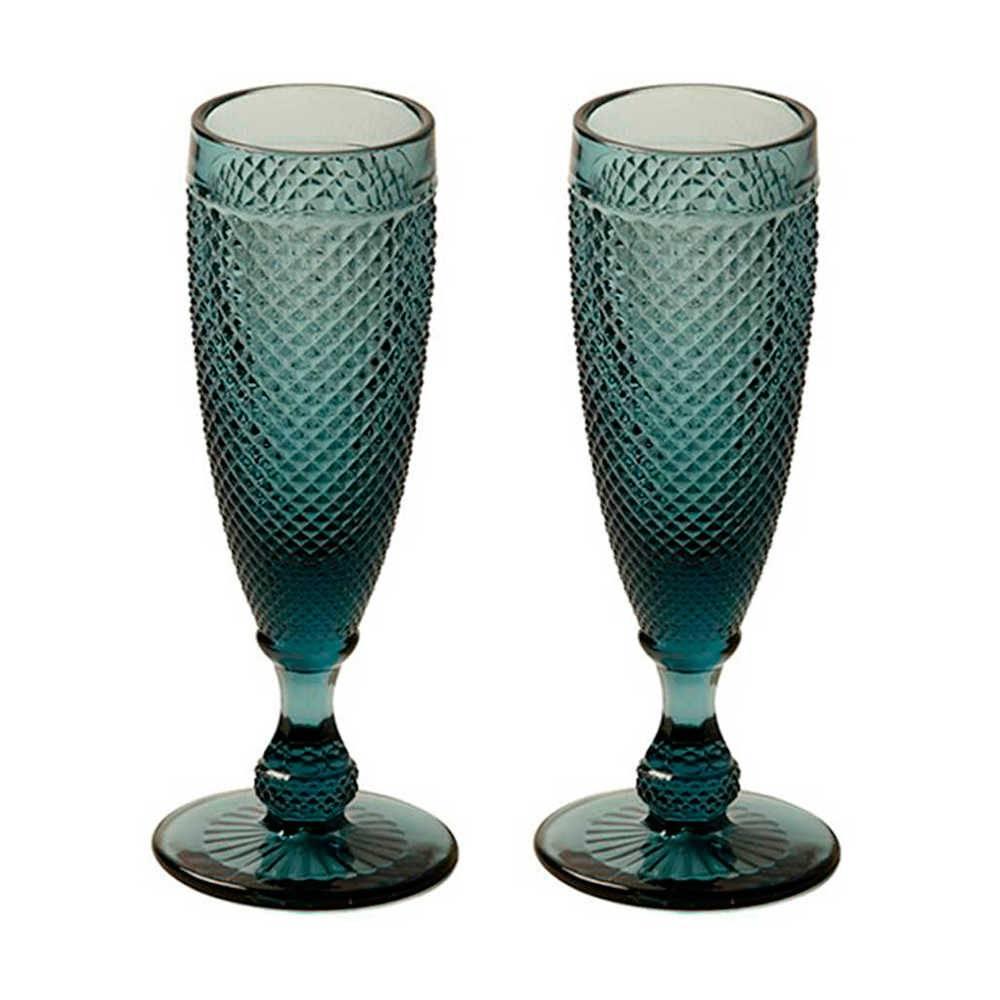 Conjunto de Taças para Champanhe Bico de Jaca Azul - 2 Peças - 120 ml - em Vidro - 18x7 cm
