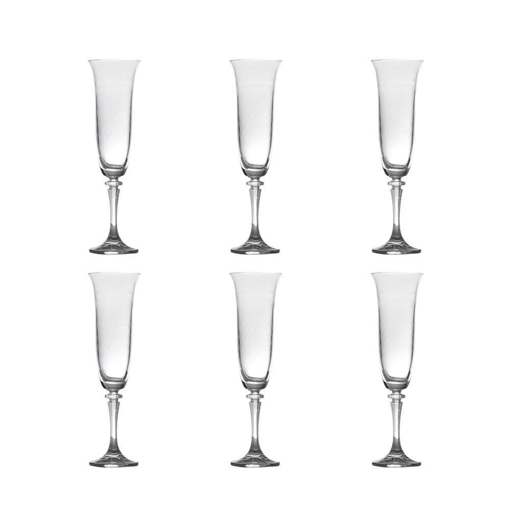 Conjunto de Taças para Champanhe Kleopatra Pantografadas Liso - 6 Peças - 175 ml - em Cristal - Bohemia