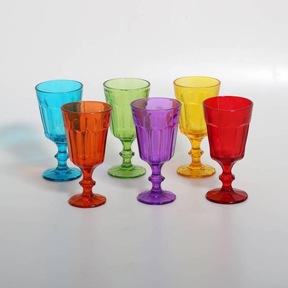 Conjunto de Taças para Água Ice Coloridas - 6 Peças - 230 ml - em Vidro - Bon Gourmet