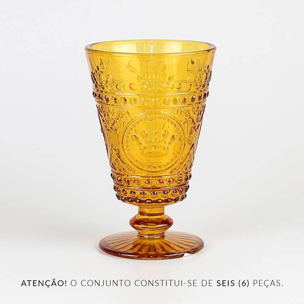 Conjunto de Taças para Água Coroa Âmbar - 6 Peças - 430 ml - em Vidro - Bon Gourmet
