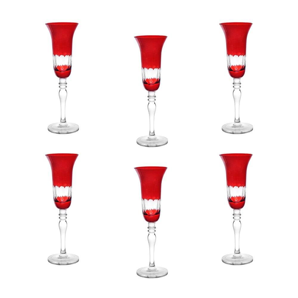 Conjunto de Taças para Champagne Finger Vermelhas - 6 Peças - 170 ml - em Vidro - Bon Gourmet