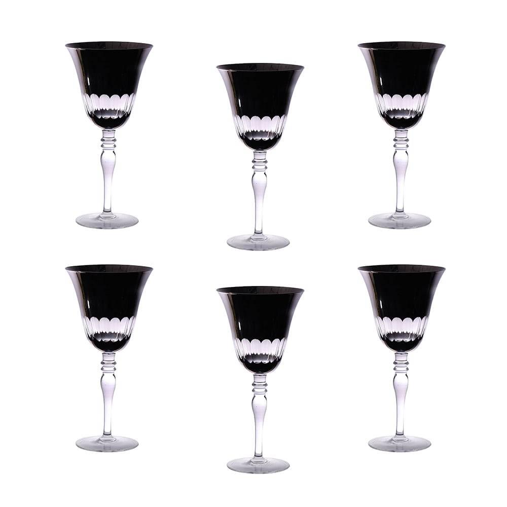 Conjunto de Taças para Vinho Tinto Finger Pretas - 6 Peças - 270 ml - em Vidro - Bon Gourmet