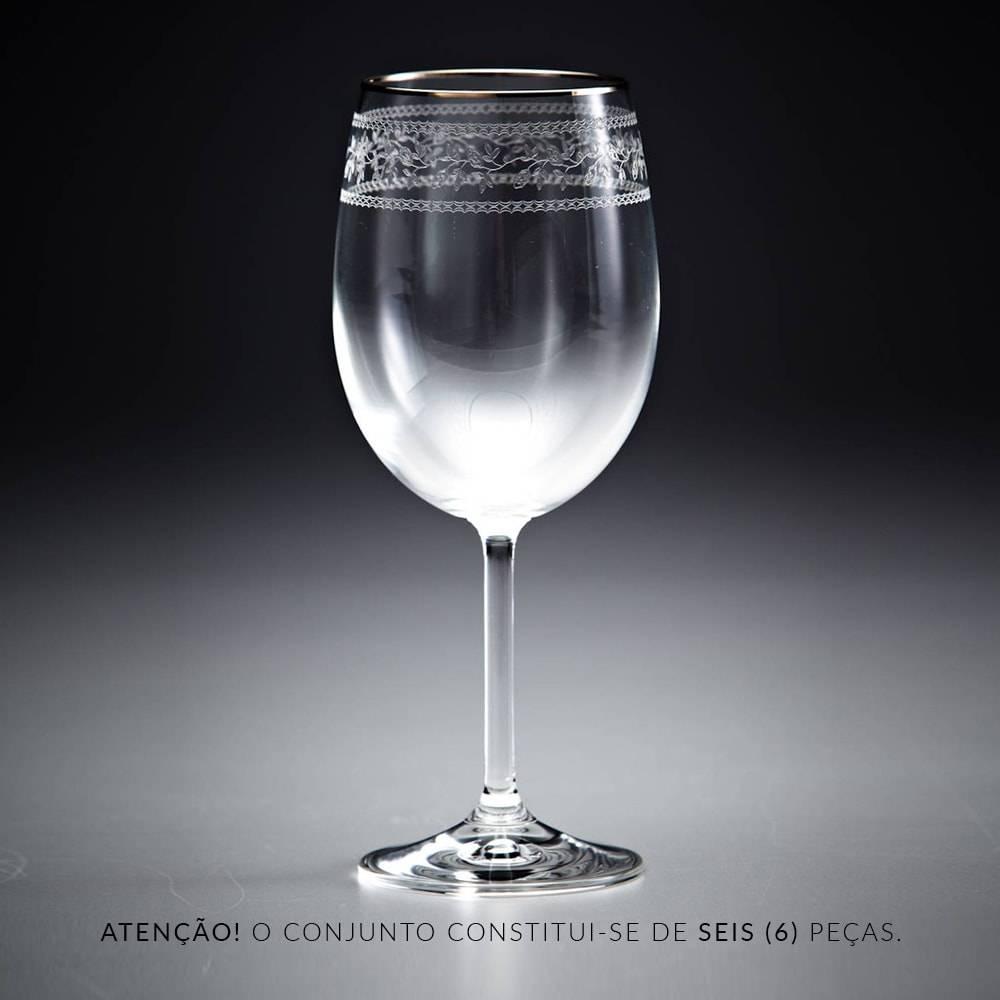 Conjunto de Taças para Vinho Tinto Gala Pantografadas Ouro - 6 Peças - em Cristal - Rona