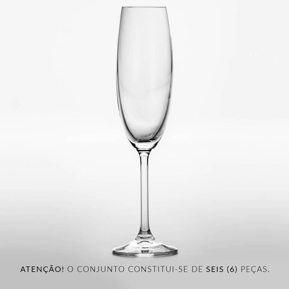 Conjunto de Taças para Champanhe Gastro - 6 Peças - 220 ml - em Cristal - Bohemia