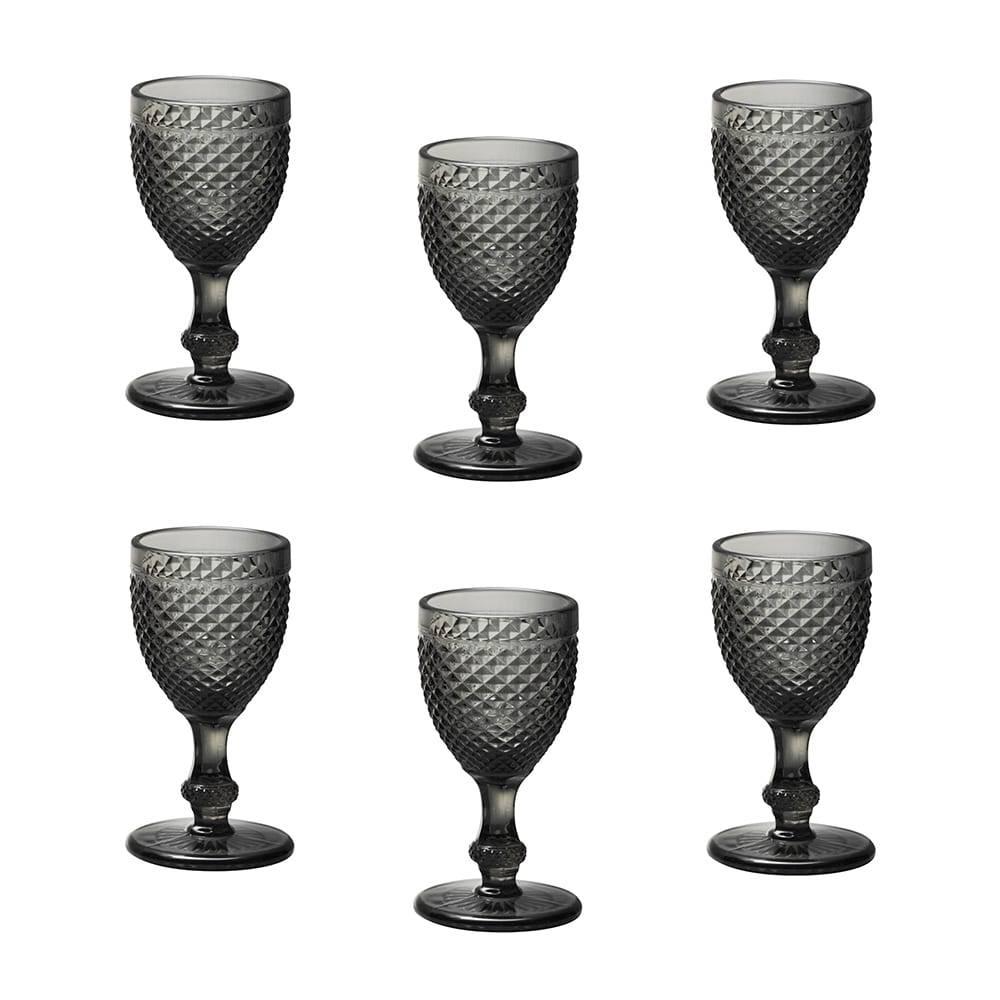 Conjunto 6 Taças para Licor Bico de Jaca em Vidro Cinza - 33 ml - Bon Gourmet