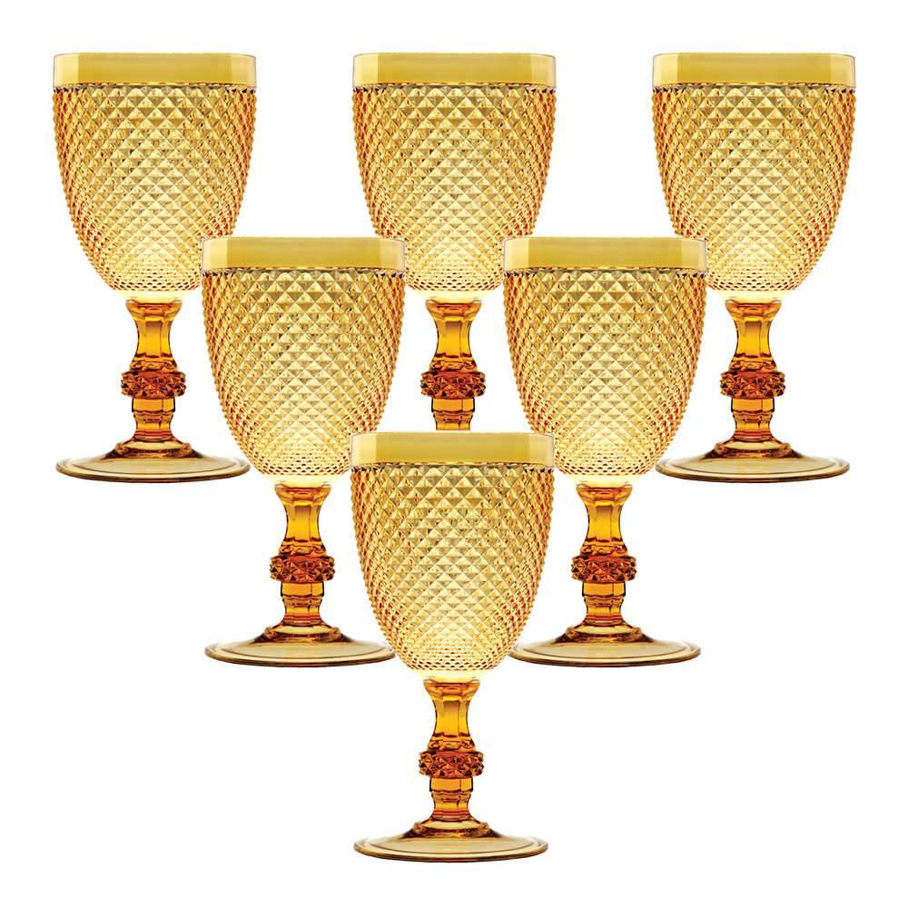 Conjunto de Taças Multiuso Âmbar - 6 Peças - 350 ml - em Acrílico - Bon Gourmet