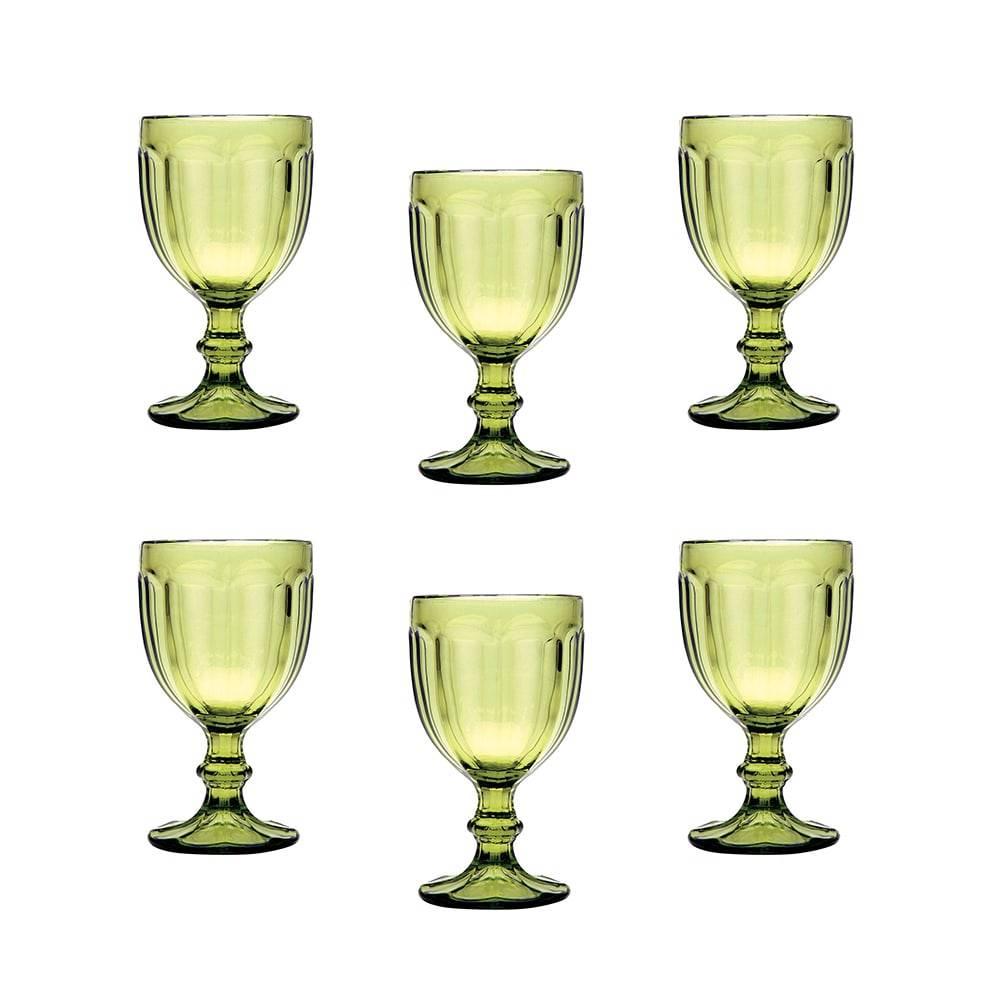 Conjunto de Taças para Água Pricilla Verdes - 6 Peças - 340 ml - em Vidro - Bon Gourmet