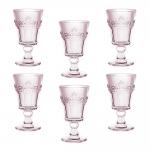 Conjunto Taças Quartzo Rosa para Água - 6 Peças - em Vidro