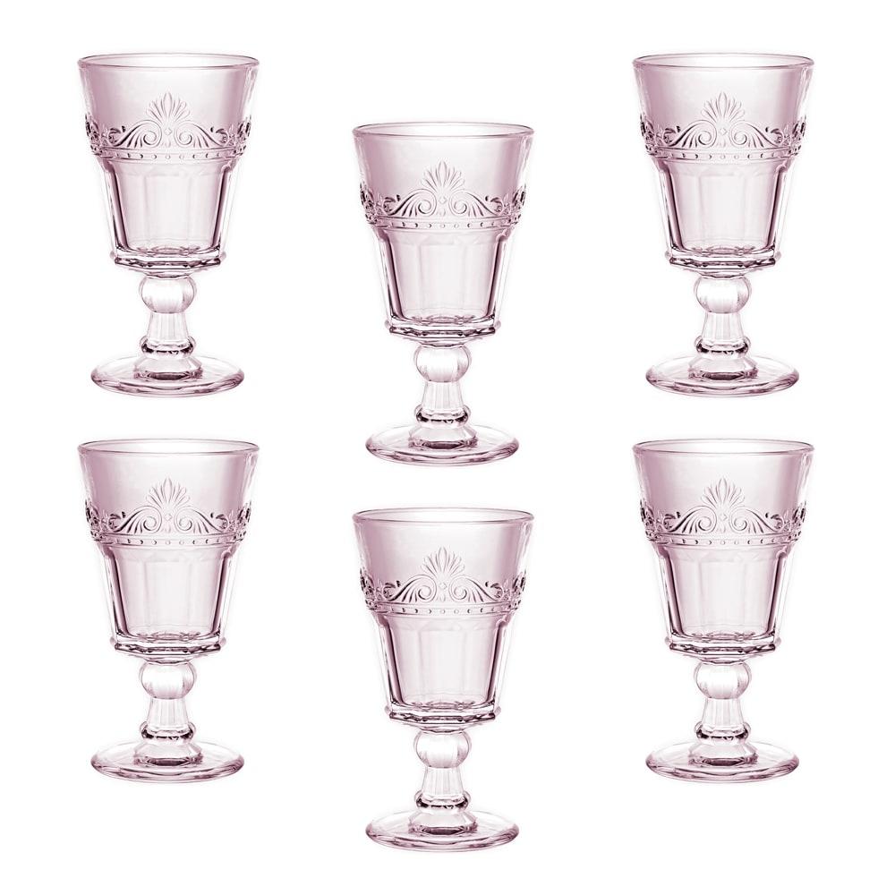 Conjunto Taças Quartzo Rosa para Água - 6 Peças - em Vidro - 16x9 cm