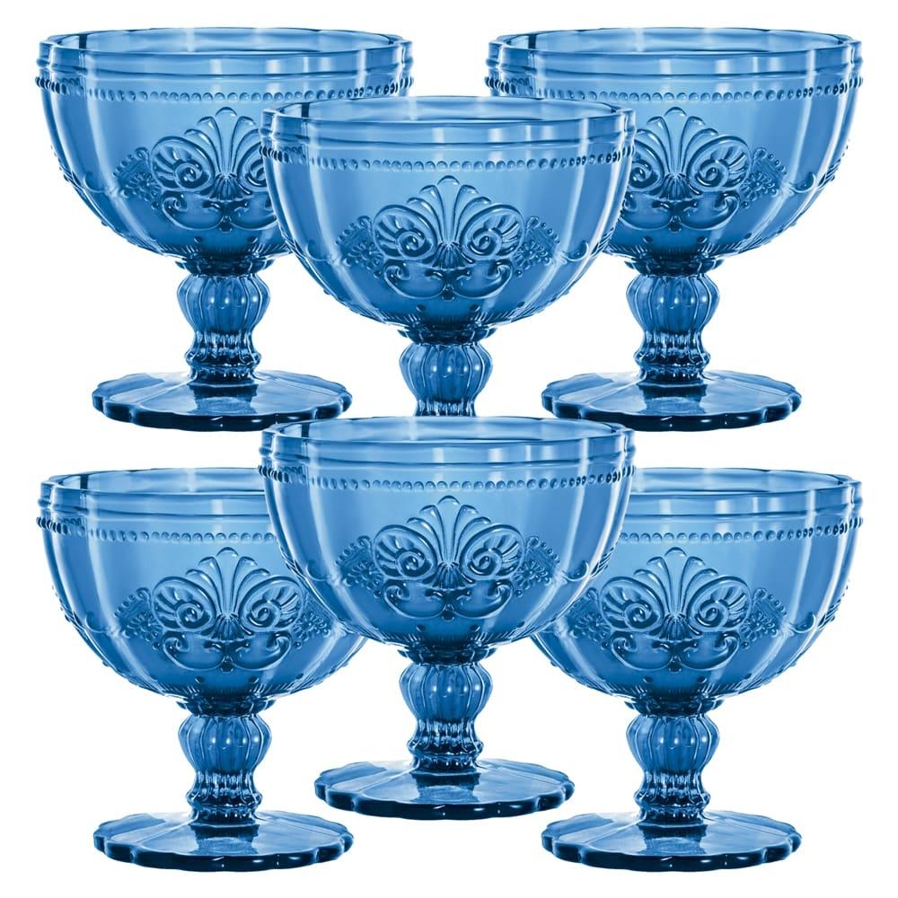 Conjunto Taças Safira p/ Sobremesa - 6 Peças - em Vidro - 11x11 cm