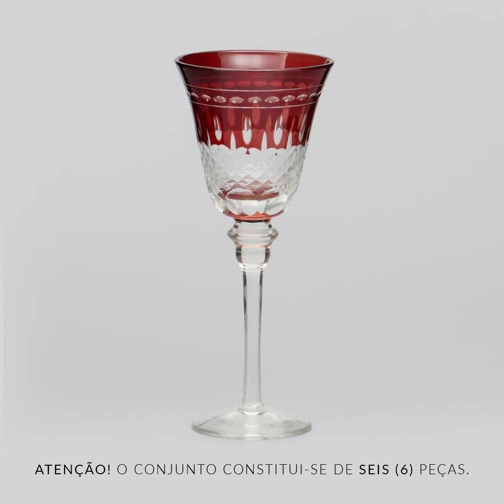 Conjunto de Taças para Vinho Vermelhas Lapidadas - 6 Peças - 160 ml - em Vidro