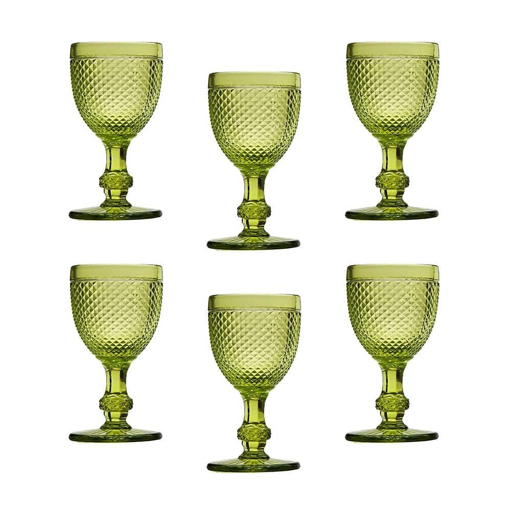 Conjunto de Taças para Vinho Tinto Bico de Jaca Verde - 6 Peças - 130 ml - em Vidro - Bon Gourmet