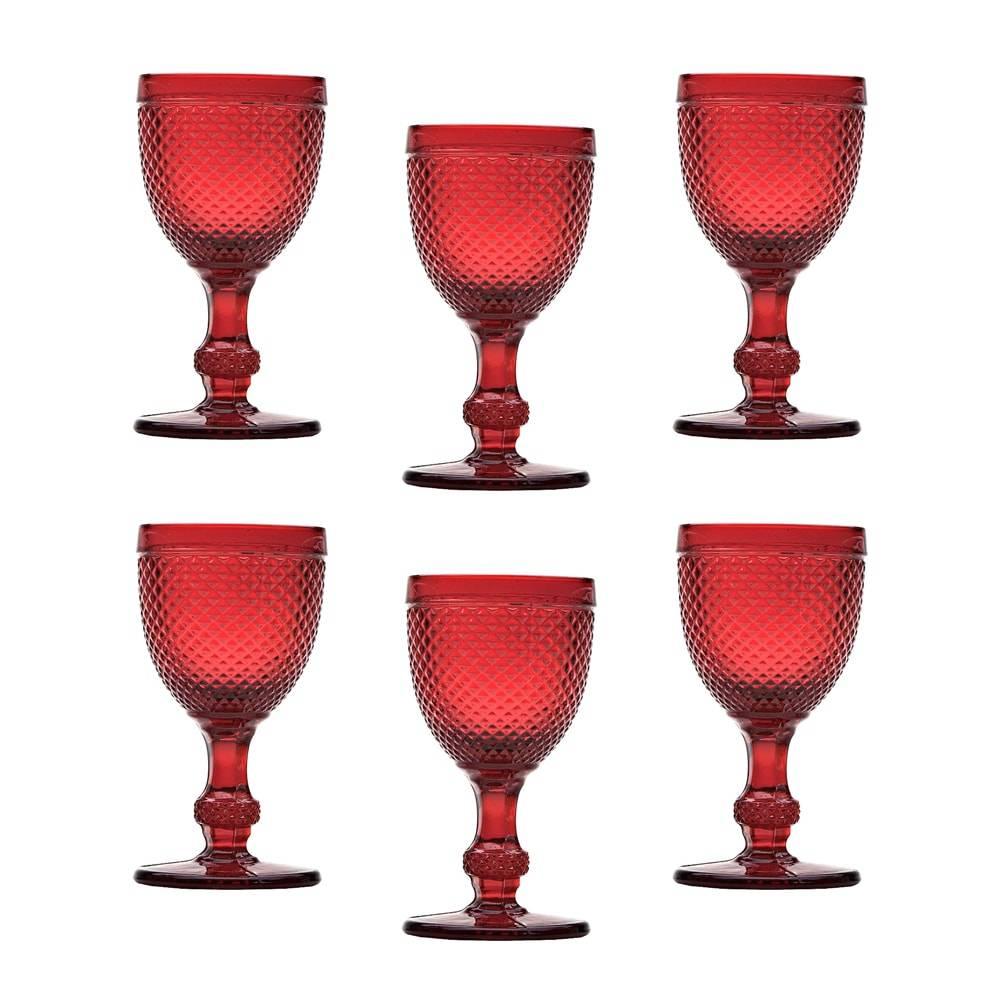 Conjunto de Taças para Vinho Tinto Bico de Jaca Vermelhas - 6 Peças - 130 ml - em Vidro - Bon Gourmet