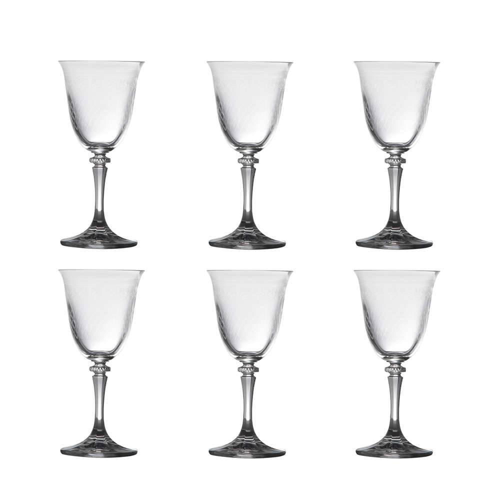 Conjunto de Taças para Vinho Branco Kleopatra Pantografadas Lisas - 6 Peças - 250 ml - em Cristal - Bohemia