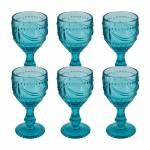 Conjunto 6 Taças para Vinho Shallon Azul em Vidro - 15x8 cm