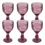 Conjunto 6 Taças para Vinho Shallon Rosa em Vidro - 15x8 cm