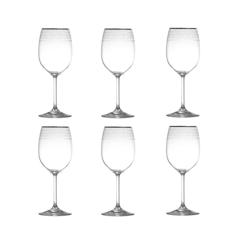 Conjunto de Taças para Vinho Tinto Ingrid Pantografadas - 6 Peças - 250 ml - em Cristal - Rona