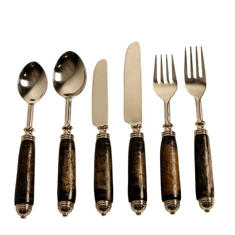 Conjunto de Talheres Pelese Marrom e Prata - 6 Peças em Metal e Chifre - 27x22 cm