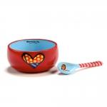 Conjunto de Tigela e Colher - 2 Peças - Heart Vermelho em Cerâmica - 13x13 cm