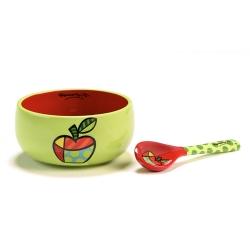 Conjunto de Tigela e Colher Maçã Verde/Vermelho em Cerâmica