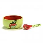Conjunto de Tigela e Colher - 2 Peças - Maçã Verde e Vermelho em Cerâmica - 13x13 cm