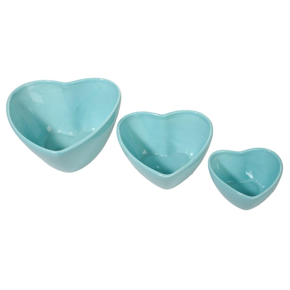 Conjunto de Tigelas Corações Azuis - 3 Peças - em Cerâmica - 20x10 cm