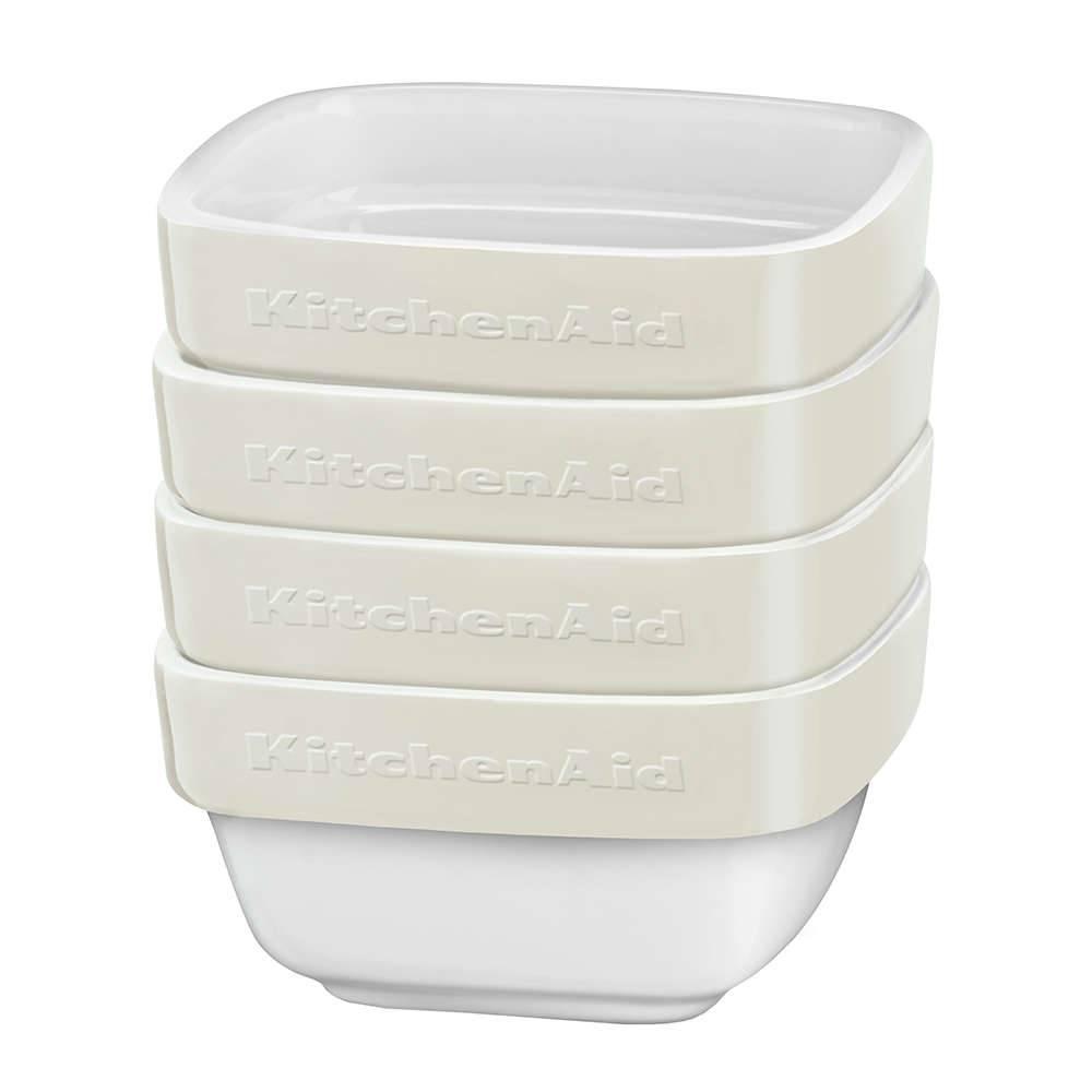 Conjunto Travessas de Cerâmica KitchenAid 4 Peças Almond Cream - KI764AA - 10x10 cm