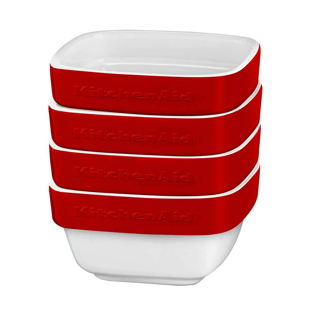 Conjunto Travessas de Cerâmica KitchenAid 4 Peças Empire Red - KI764AV - 10x10 cm