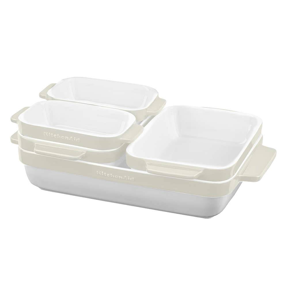 Conjunto Travessas de Cerâmica KitchenAid 5 Peças Almond Cream - KI758AA